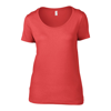 Anvil Women'S Featherweight Scoop Tee in coral