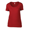 Anvil Women'S Featherweight Scoop Tee in red