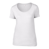 Anvil Women'S Featherweight Scoop Tee in white