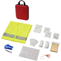 47-piece first aid kit with safety vest