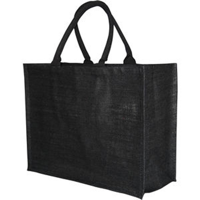 Bio-degradable Large Black Jute Bag With 40cm Cotton Web Handles