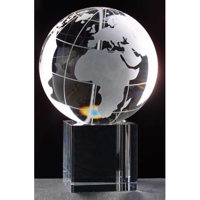 100mm globe trophy on large cube