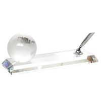 60mm globe and silver pen on a crystal stand in a satin lined box