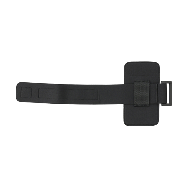 Phone armband with reflective trim.