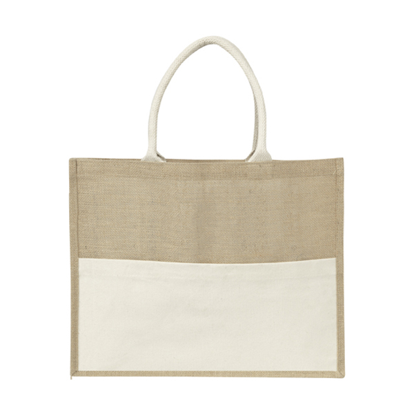 Jute bag with a cotton front pocket.