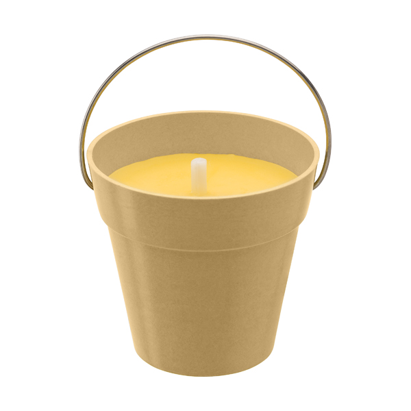 Citronella candle in round pot made from bamboo fibres.