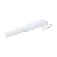 Plastic cleaning roller for clothes with an integral sewing kit and attached to a metal key chain.