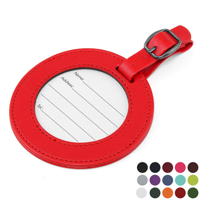 Belluno Coloured  PU Round Luggage Tag with  Clear Window.