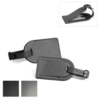 Carbon Fibre Effect Small Luggage Tag with Security Flap