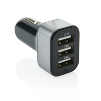 3.1A car charger with 3 USB, black/grey