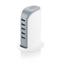 6A USB charging station, white