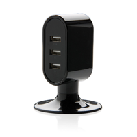 3 port USB desk charger, black