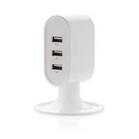 3 port USB desk charger, white