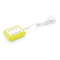 6 port USB charger, lime green