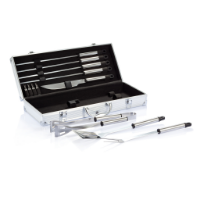 12 pcs barbecue set in aluminium box, silver