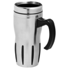 Tech 330 ml insulated mug in silver-and-black-solid