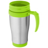Sanibel 400 ml insulated mug in silver-and-lime-green