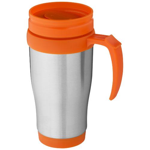 Sanibel 400 ml insulated mug in silver-and-orange