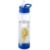 Tutti frutti bottle with infuser in transparent-and-blue