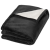 Hampton soft velours with sherpa plaid blanket in black-solid