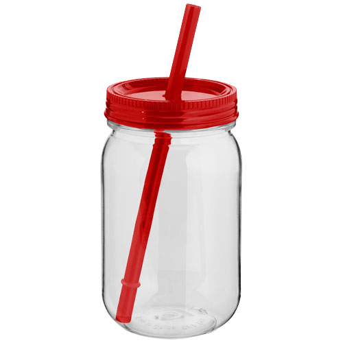 Binx mason jar in transparent-and-red