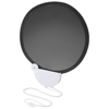 Breeze foldable hand fan with cord in black-solid-and-white-solid