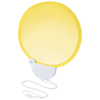 Breeze foldable hand fan with cord in yellow-and-white-solid