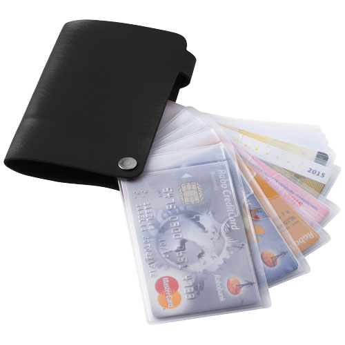 Valencia card holder with 10 slots in black-solid