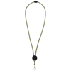 Hagen dual-tone lanyard with adjustable disc in lime-and-black-solid
