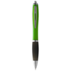 Nash ballpoint pen coloured barrel and black grip in lime-and-black-solid