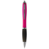 Nash ballpoint pen coloured barrel and black grip in pink-and-black-solid