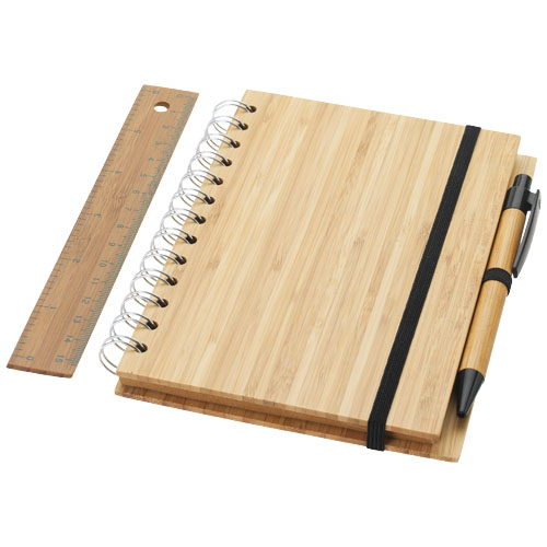 Franklin B6 bamboo notebook with pen and ruler in wood