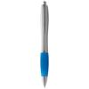 Nash ballpoint pen silver barrel and coloured grip in silver-and-aqua-blue