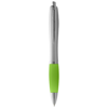 Nash ballpoint pen silver barrel and coloured grip in silver-and-lime-green