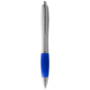 Nash ballpoint pen silver barrel and coloured grip in silver-and-royal-blue