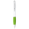 Nash ballpoint pen white barrel and coloured grip in white-solid-and-lime-green