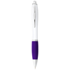 Nash ballpoint pen white barrel and coloured grip in white-solid-and-purple