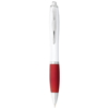 Nash ballpoint pen white barrel and coloured grip in white-solid-and-red