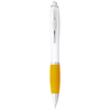 Nash ballpoint pen white barrel and coloured grip in white-solid-and-yellow