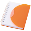 Post A7 spiral notebook with blank pages in orange-and-transparent
