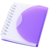 Post A7 spiral notebook with blank pages in purple-and-transparent