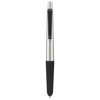 Gummy stylus ballpoint pen with soft-touch grip in silver-and-black-solid