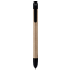 Planet recycled stylus ballpoint pen in natural-and-black-solid