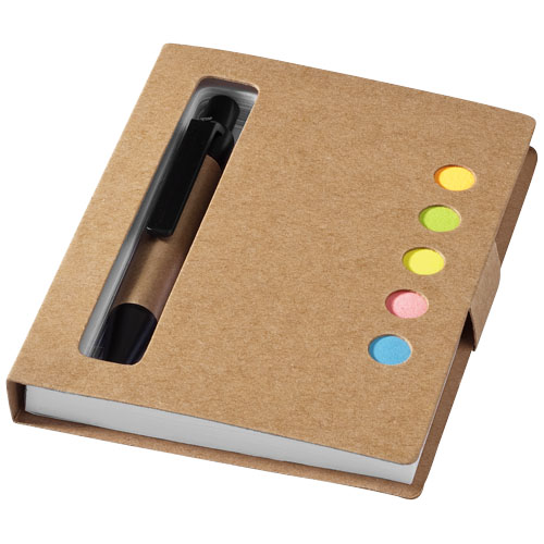 Reveal coloured sticky notes booklet with pen in natural