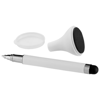Bullet stylus ballpoint pen and screen cleaner in white-solid