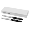 Geneva stylus ballpoint pen and rollerball pen set in silver-and-black-solid