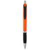 Turbo ballpoint pen with rubber grip in orange-and-black-solid