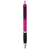 Turbo ballpoint pen with rubber grip in pink-and-black-solid