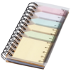Spinner spiral notebook with coloured sticky notes in natural