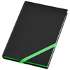 Travers small hard cover notebook in black-solid-and-green